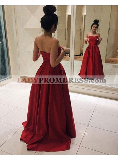 2021 Elegant Red Princess/A-Line Satin Sweetheart Prom Dresses