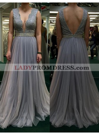 2019 Charming Princess/A-Line Tulle Backless Prom Dresses Light Slate Grey