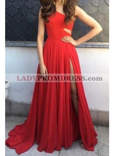 One Shoulder Red Side Slit Prom Dresses