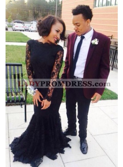 2021 Sexy Mermaid/Trumpet Lace Long Sleeves Prom Dresses