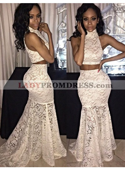 White Mermaid/Trumpet Lace Two Pieces Prom Dresses