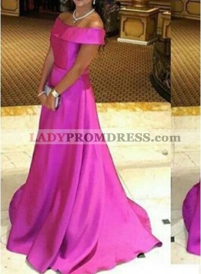 2021 Cheap Princess/A-Line Satin Fuchsia Prom Dresses