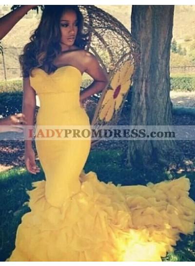 2021 Sexy Mermaid/Trumpet Daffodil Satin Prom Dresses
