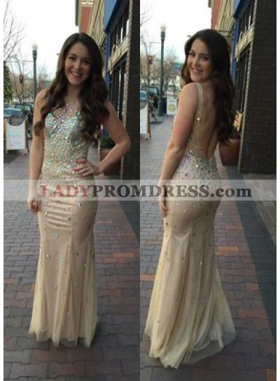 Champagne Tulle Beaded Backless Prom Dresses