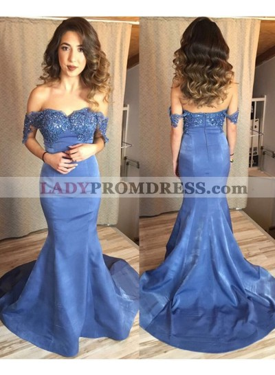 Alluring Mermaid/Trumpet Sweetheart Satin Off The Shoulder Prom Dresses