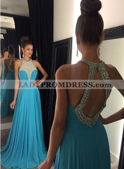 2020 Cheap Princess/A-Line Chiffon Backless Prom Dresses