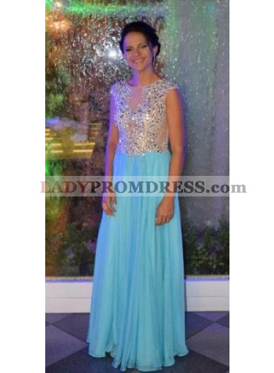 2019 Cheap Princess/A-Line Chiffon Turquoise Beaded Prom Dresses