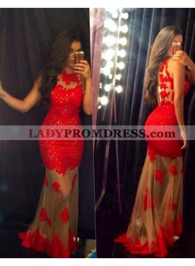 2019 Sexy Mermaid/Trumpet Red Tulle Prom Dresses
