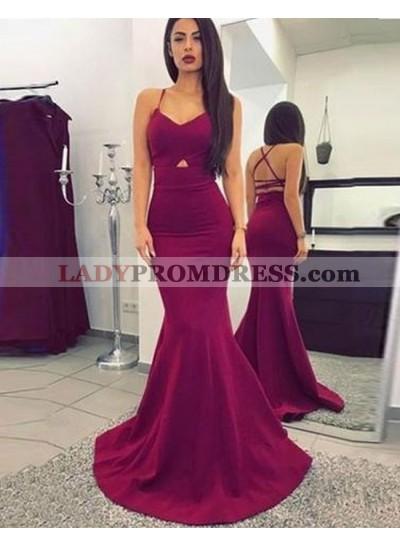 2020 Sexy Mermaid/Trumpet Burgundy Satin Prom Dresses
