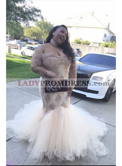 2021 Sexy Long Sleeves Off The Shoulder Ivory Tulle Prom Dresses