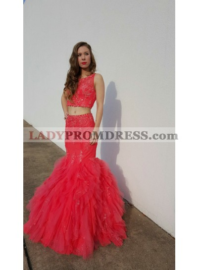2019 Siren Mermaid/Trumpet Two Pieces Tulle Water Melon Prom Dresses
