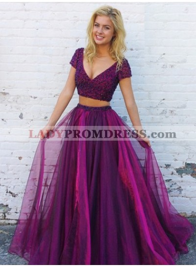 New Arrival Princess/A-Line Two Pieces Purple Prom Dresses With Short Sleeves