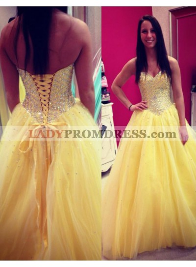 Ball Gown Yellow Sweetheart Lace Up Prom Dresses