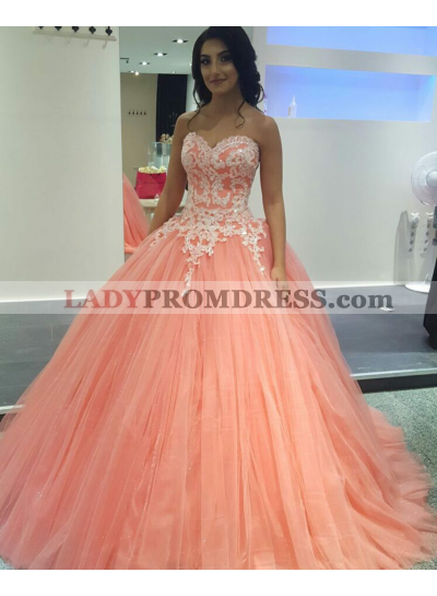 2019 Charming Peach Tulle Ball Gown Sweetheart Prom Dresses