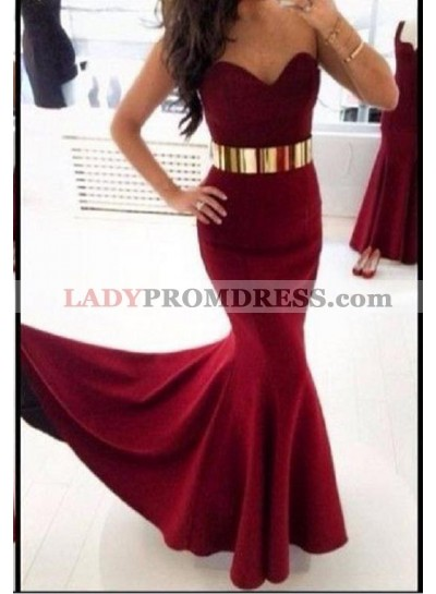 2021 Sexy Mermaid/Trumpet Sweetheart Burgundy Prom Dresses