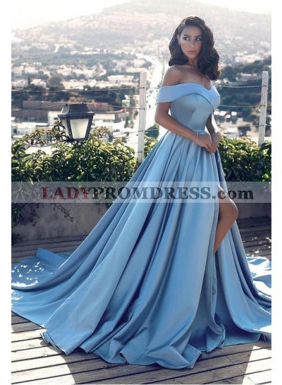 2019 Elegant Princess/A-Line Blue Sweetheart Satin Side Slit Off The Shoulder Prom Dresses