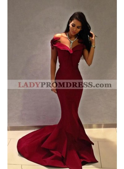 Alluring Mermaid Satin Sweetheart Burgundy Prom Dresses