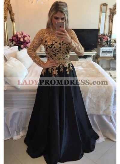 2021 Charming Princess/A-Line Black Long Sleeves With Gold Appliques Prom Dresses