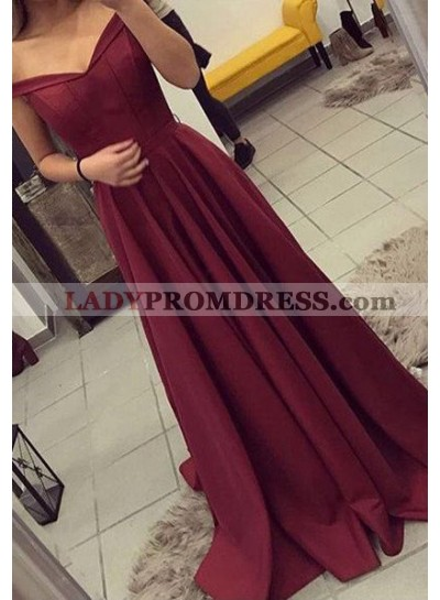 Princess/A-Line Burgundy Satin Sweep Train Off The Shoulder Prom Dresses