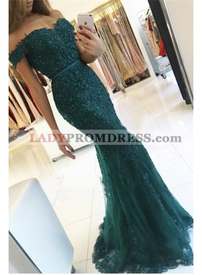 2021 Sexy Mermaid/Trumpet Dark Green Off The Shoulder Prom Dresses