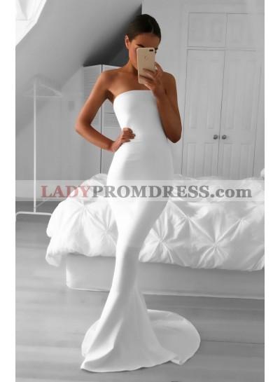 2021 Elegant Mermaid/Trumpet Strapless Satin White Prom Dresses