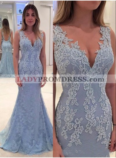 Mermaid/Trumpet Lace V-neck Prom Dresses With Appliques