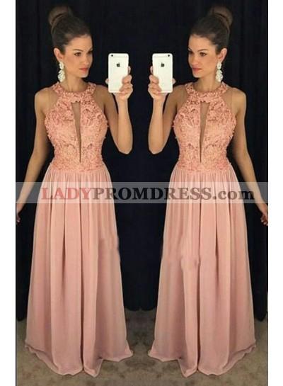 2021 Cheap Princess/A-Line Chiffon Halter Prom Dresses Yellow Lace