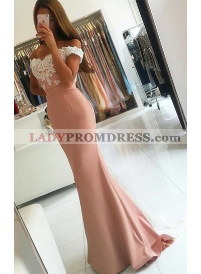 Dusty Rose Satin Off The Shoulder Lace Prom Dresses