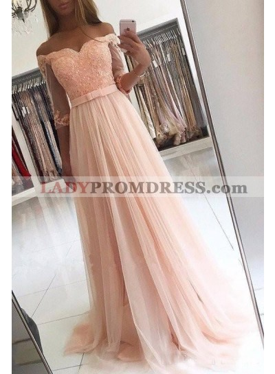 2021 Charming Princess/A-Line Tulle Long Sleeves Off The Shoulder Pink Wedding Dresses