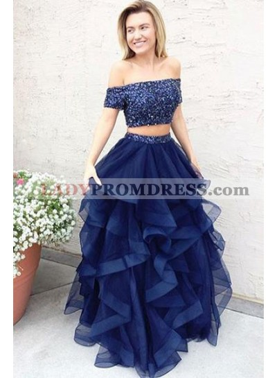Dark Navy Princess/A-Line Tulle Two Pieces Prom Dresses