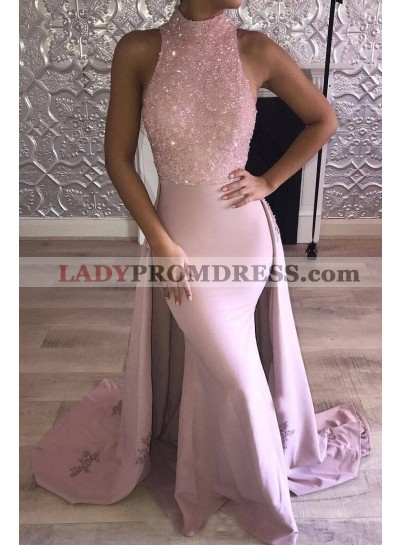Mermaid Dusty Rose Elastic Satin Long Train Prom Dresses