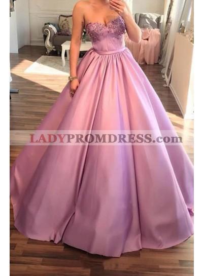 2020 Elegant Ball Gown Sweetheart Satin Pink Prom Dresses