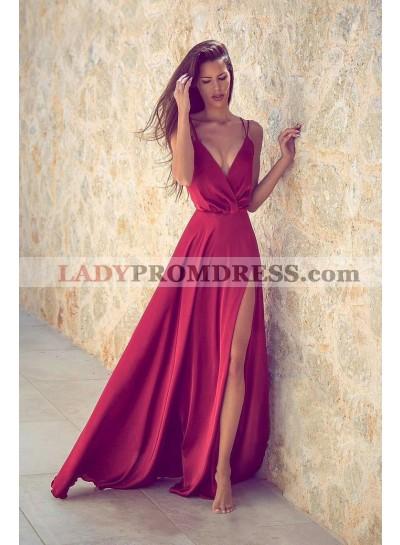 2021 Siren Princess/A-Line Red Satin Side Slit Prom Dresses