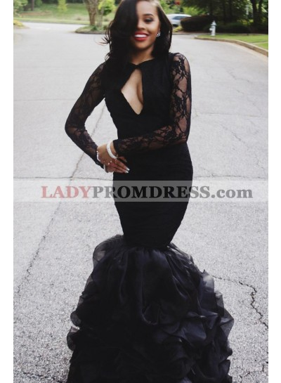 Mermaid Black Long Sleeves Organza Backless Prom Dresses