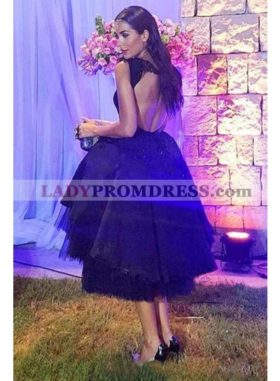 New Arrival Princess/A-Line Black Tea Length Satin With Tulle Prom Dresses