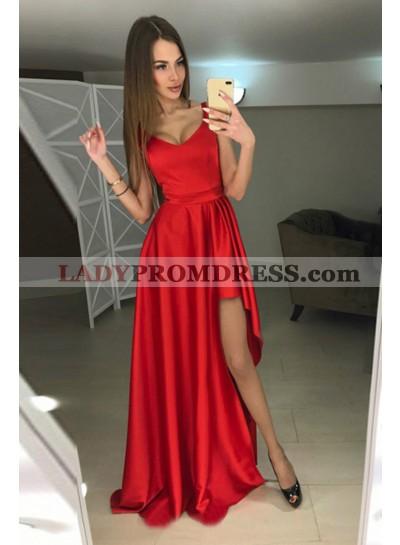 Princess/A-Line Satin Red Floor Length Prom Dresses