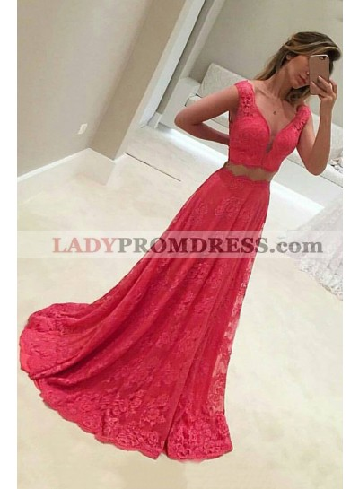 Princess/A-Line Red Lace Sweetheart Prom Dresses