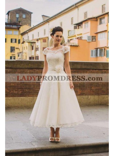2021 A Line Lace Capped Sleeves Tea Length Wedding Dresses