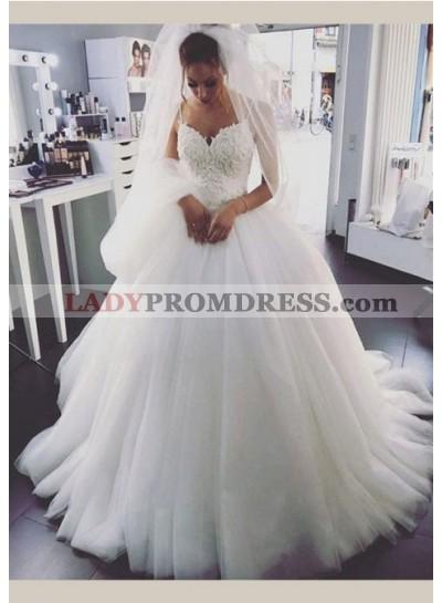 Tulle 2020 Ball Gown Wedding Dresses Spaghetti Straps