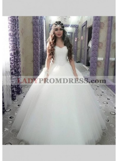Sweetheart Ball Gown Sequins Tulle 2021 Wedding Dresses