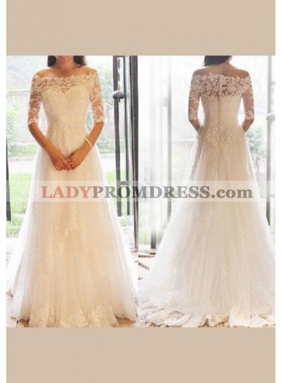 Lace Off The Shoulder Long Sleeves Wedding Dresses 2019