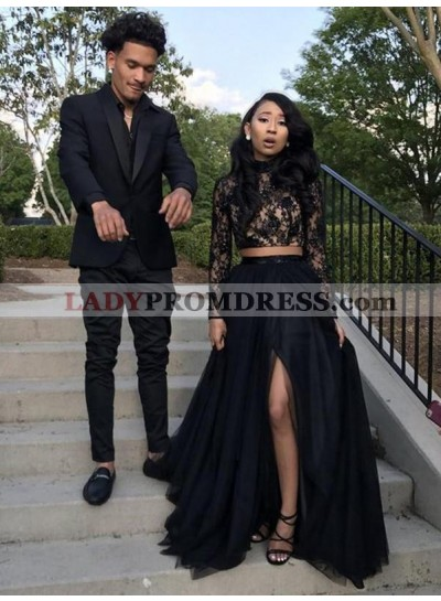 Black Long Sleeves Side Slit Two Pieces Beaded Lace Prom Dresses 2020