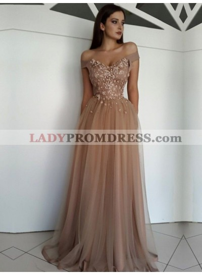 2021 A-Line/Princess Tulle Sweetheart Off The Shoulder Champagne Prom Dresses