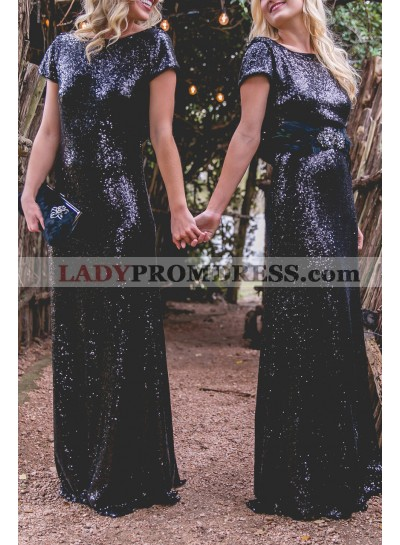 Charming Sheath Black Sequence Backless Long Bridesmaid Dresses