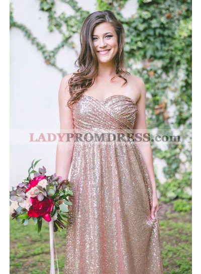 2021 A Line Sweetheart Sequence Long Bridesmaid Dresses