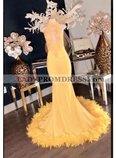 Charming Yellow High Neck Mermaid Prom Dresses 2021