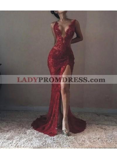 2021 Sexy Mermaid V-neck Split Prom Dresses
