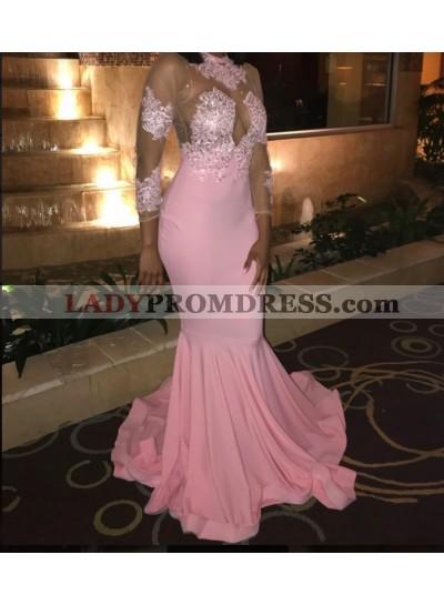 2020 Pink Long Sleeve Appliques Mermaid Satin Prom Dresses