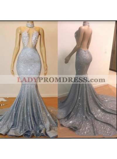 2021 High Neck Silver Backless Sexy Mermaid Prom Dresses