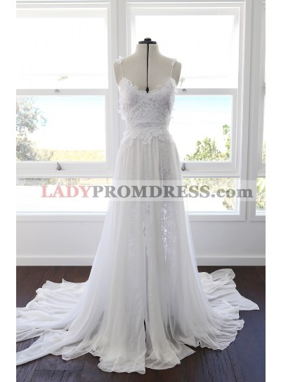 Cheap A Line Sweetheart Spaghetti Straps Side Slit Chiffon Lace Beach Wedding Dresses 2021
